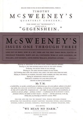 McSweeney's Issues One Through Three (Mcsweeney's) - Book  of the McSweeney's Quarterly Concern