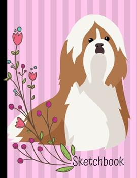 Paperback Sketchbook : Shih Tzu Dog Pink Sketch Book 8. 5 X 11 Blank Paper 100 Pages Notebook for Drawing Art Journal Book