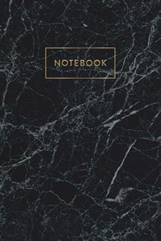 Paperback Notebook : Black & Grey Marble - Notizbuch in Moderner Marmor Optik - Ca. DIN A5 (6x9''), Kariert, 108 Seiten, Schwarz Grauer Marmor Mit Gold - F�r Notizen, Termine und Skizzen - Ideal Als Organizer, Kalender, Semesterplaner, Journal Book