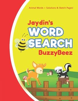 Paperback Jaydin's Word Search: Animal Creativity Activity & Fun for Creative Kids - Solve a Zoo Safari Farm Sea Life Wordsearch Puzzle Book + Draw & Book