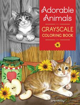 Paperback Adorable Animals Grayscale Coloring Book