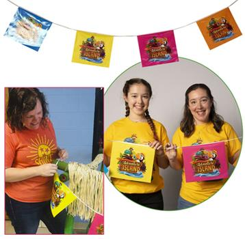 Hardcover Vacation Bible School (VBS) 2021 Discovery on Adventure Island Logo String Flags : Quest for God's Great Light Book