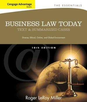 Business Law Today, the Essentials: Text and Summarized Cases 1133191355 Book Cover