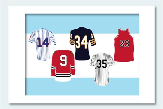 Poster Legends of Chicago Sports Jersey Collection Art Print11x14 Book