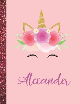 Paperback Alexander : Alexander Marble Size Unicorn SketchBook Personalized White Paper for Girls and Kids to Drawing and Sketching Doodle Taking Note Size 8. 5 X 11 Book