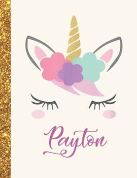 Paperback Payton: Payton Unicorn Personalized Black Paper SketchBook for Girls and Kids to Drawing and Sketching Doodle Taking Note Marb Book