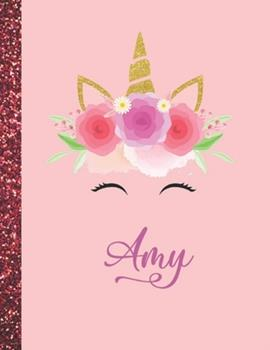 Paperback Amy : Amy Marble Size Unicorn SketchBook Personalized White Paper for Girls and Kids to Drawing and Sketching Doodle Taking Note Size 8. 5 X 11 Book