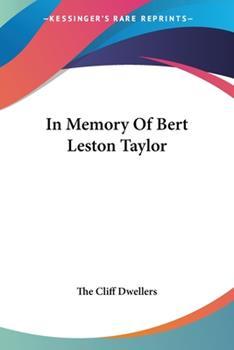 Paperback In Memory Of Bert Leston Taylor Book