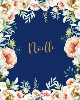 Paperback Noelle Dotted Journal: Notebook Customized Name Dotted Grid Bullet Blank Writing Diary Keepsake Womens Teens Girls Girlfriend Wife Mom & Friends ... Valentines Gift Gold Flowers Dark Blue Book