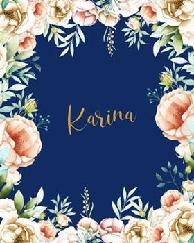 Paperback Karina Dotted Journal: Custom Name Notebook/Journal  Personal Diary  Dot Grid Bullet Writing Diary Paper  Gift for Teachers Girls Womens Friends  Birthday Valentines Gift  Gold Flower Blue Book