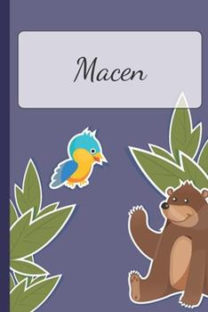 Paperback Macen : Personalized Notebooks - Sketchbook for Kids with Name Tag - Drawing for Beginners with 110 Dot Grid Pages - 6x9 / A5 Size Name Notebook - Perfect As a Personal Gift - Planner and Journal for Kids Book