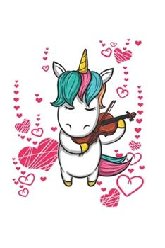 Paperback Hearts Violine Music Unicorn Notebook : Lined Paper Journal 6x9 - 120 Pages Book