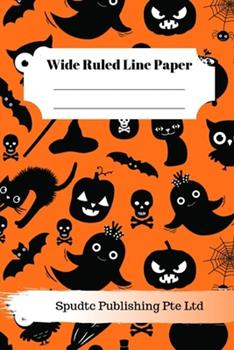 Paperback Scary Bat, Ghost and Pumpkin Theme Wide Ruled Line Paper Book