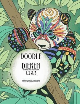 Paperback Doodle Dieren Kleurboek voor Volwassenen 1, 2 & 3 [Dutch] [Large Print] Book