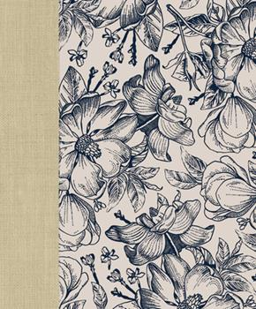 Hardcover Ceb Wide-Margin Navy Floral Bible: For Journaling and Note-Taking Book
