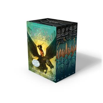 Paperback Percy Jackson and the Olympians 5 Book Paperback Boxed Set (New Covers W/Poster) Book