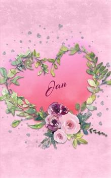 Paperback Jan : Personalized Small Journal - Gift Idea for Women & Girls (Pink Floral Heart Wreath) Book