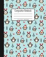Composition Notebook: 7.5x9.25, Wide Ruled Christmas Trees with Penguins 1676781234 Book Cover