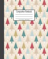 Composition Notebook: 7.5x9.25, Wide Ruled Christmas Trees with Snowflakes 1676781269 Book Cover