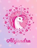 Alejandra: Alejandra Magical Unicorn Horse Large Blank Pre-K Primary Draw & Write Storybook Paper Personalized Letter A Initial Custom First Name Cover Story Book Drawing Writing Practice for Little G 1704299691 Book Cover