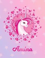 Amina: Amina Magical Unicorn Horse Large Blank Pre-K Primary Draw & Write Storybook Paper Personalized Letter A Initial Custom First Name Cover Story Book Drawing Writing Practice for Little Girl Use  170431321X Book Cover