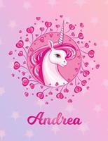 Andrea: Andrea Magical Unicorn Horse Large Blank Pre-K Primary Draw & Write Storybook Paper Personalized Letter A Initial Custom First Name Cover Story Book Drawing Writing Practice for Little Girl Us 1704316871 Book Cover