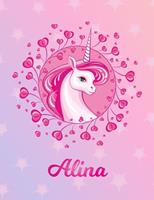 Alina: Alina Magical Unicorn Horse Large Blank Pre-K Primary Draw & Write Storybook Paper Personalized Letter A Initial Custom First Name Cover Story Book Drawing Writing Practice for Little Girl Use  1704306531 Book Cover
