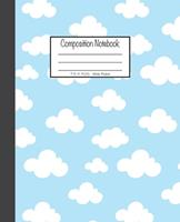 Composition Notebook: 7.5x9.25, Wide Ruled White Clouds on Blue Sky 1676892958 Book Cover