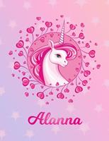Alanna: Alanna Magical Unicorn Horse Large Blank Pre-K Primary Draw & Write Storybook Paper Personalized Letter A Initial Custom First Name Cover Story Book Drawing Writing Practice for Little Girl Us 1704297745 Book Cover