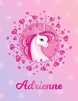 Adrienne: Adrienne Magical Unicorn Horse Large Blank Pre-K Primary Draw & Write Storybook Paper Personalized Letter A Initial Custom First Name Cover Story Book Drawing Writing Practice for Little Gir 1704295394 Book Cover