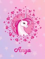 Anya: Anya Magical Unicorn Horse Large Blank Pre-K Primary Draw & Write Storybook Paper Personalized Letter A Initial Custom First Name Cover Story Book Drawing Writing Practice for Little Girl Use im 1704321131 Book Cover