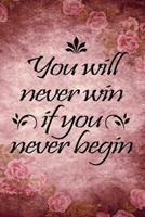 You will never win if you never begin motivational quote floral scrapbook vintage watercolor cover for new year: 2020 Planner Jan 1 to Dec 31 Weekly & Monthly Coordinator + Calendar Views Inspirationa 1676921427 Book Cover
