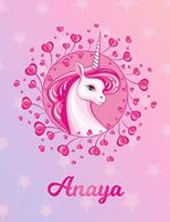 Anaya: Anaya Magical Unicorn Horse Large Blank Pre-K Primary Draw & Write Storybook Paper Personalized Letter A Initial Custom First Name Cover Story Book Drawing Writing Practice for Little Girl Use  1704316677 Book Cover
