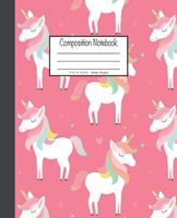 Composition Notebook: 7.5x9.25, Wide Ruled Colorful Pink Unicorn 1676893121 Book Cover