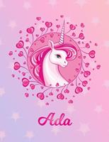 Ada: Ada Magical Unicorn Horse Large Blank Pre-K Primary Draw & Write Storybook Paper Personalized Letter A Initial Custom First Name Cover Story Book Drawing Writing Practice for Little Girl Use imag 1704290511 Book Cover