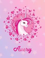 Avery: Avery Magical Unicorn Horse Large Blank Pre-K Primary Draw & Write Storybook Paper Personalized Letter A Initial Custom First Name Cover Story Book Drawing Writing Practice for Little Girl Use  1704330815 Book Cover