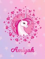 Amiyah: Amiyah Magical Unicorn Horse Large Blank Pre-K Primary Draw & Write Storybook Paper Personalized Letter A Initial Custom First Name Cover Story Book Drawing Writing Practice for Little Girl Us 1704314666 Book Cover