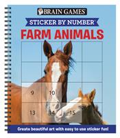 Brain Games - Sticker by Number: Farm Animals (Square Stickers): Create Beautiful Art With Easy to Use Sticker Fun! 164558173X Book Cover