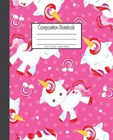 Composition Notebook: 7.5x9.25, Wide Ruled Unicorn and Little Rainbow on Pink 1676893210 Book Cover