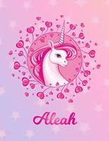 Aleah: Aleah Magical Unicorn Horse Large Blank Pre-K Primary Draw & Write Storybook Paper Personalized Letter A Initial Custom First Name Cover Story Book Drawing Writing Practice for Little Girl Use  1704298962 Book Cover