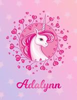 Adalynn: Adalynn Magical Unicorn Horse Large Blank Pre-K Primary Draw & Write Storybook Paper Personalized Letter A Initial Custom First Name Cover Story Book Drawing Writing Practice for Little Girl  1704291089 Book Cover