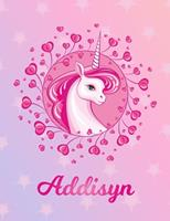Addisyn: Addisyn Magical Unicorn Horse Large Blank Pre-K Primary Draw & Write Storybook Paper Personalized Letter A Initial Custom First Name Cover Story Book Drawing Writing Practice for Little Girl  1704292832 Book Cover