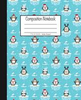 Composition Notebook: 7.5x9.25, Wide Ruled Christmas Penguins on Icebergs 1676781242 Book Cover