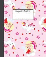 Composition Notebook: 7.5x9.25, Wide Ruled Colorful Pink Princess and Unicorn 1676893113 Book Cover