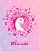 Amani: Amani Magical Unicorn Horse Large Blank Pre-K Primary Draw & Write Storybook Paper Personalized Letter A Initial Custom First Name Cover Story Book Drawing Writing Practice for Little Girl Use  1704311012 Book Cover