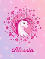 Alessia: Alessia Magical Unicorn Horse Large Blank Pre-K Primary Draw & Write Storybook Paper Personalized Letter A Initial Custom First Name Cover Story Book Drawing Writing Practice for Little Girl  1704300525 Book Cover