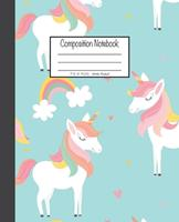 Composition Notebook: 7.5x9.25, Wide Ruled Unicorn and Rainbow 1676893253 Book Cover
