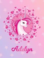 Adelyn: Adelyn Magical Unicorn Horse Large Blank Pre-K Primary Draw & Write Storybook Paper Personalized Letter A Initial Custom First Name Cover Story Book Drawing Writing Practice for Little Girl Us 1704293936 Book Cover