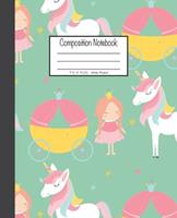 Composition Notebook: 7.5x9.25, Wide Ruled Little Pink Princess and Unicorn 1676893237 Book Cover
