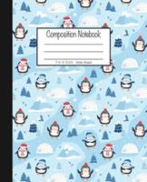 Composition Notebook: 7.5x9.25, Wide Ruled Christmas Penguins and Igloos 1676781250 Book Cover